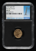 2018 American Gold Eagle $5 Five Dollar 1/10 oz Gold Coin - First Day of Issue, Black Core Holder (NGC MS70) at PristineAuction.com