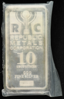 10 Troy Oz .999 Fine Silver Republic Metals Corporation Bullion Bar at PristineAuction.com