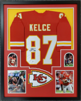 Travis Kelce Signed 34x42 Custom Framed Jersey (Beckett COA) at PristineAuction.com