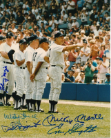 Yankees 8x10 Photo Signed by (5) with Mickey Mantle, Phil Rizzuto, Whitey Ford, Enos Slaughter, & Johnny Mize  (JSA LOA) at PristineAuction.com