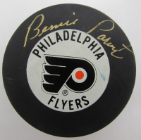 Bernie Parent Signed Flyers Logo Hockey Puck (JSA COA) at PristineAuction.com