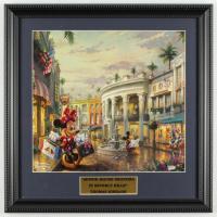 "Thomas Kinkade Walt Disney's ""Mickey & Minnie in Beverly Hills"" 16x16 Custom Framed Print Display at PristineAuction.com"