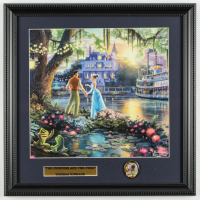 "Thomas Kinkade Walt Disney's ""The Princess and the Frog"" 16x16 Custom Framed Print Display with Princess and the Frog Pin at PristineAuction.com"