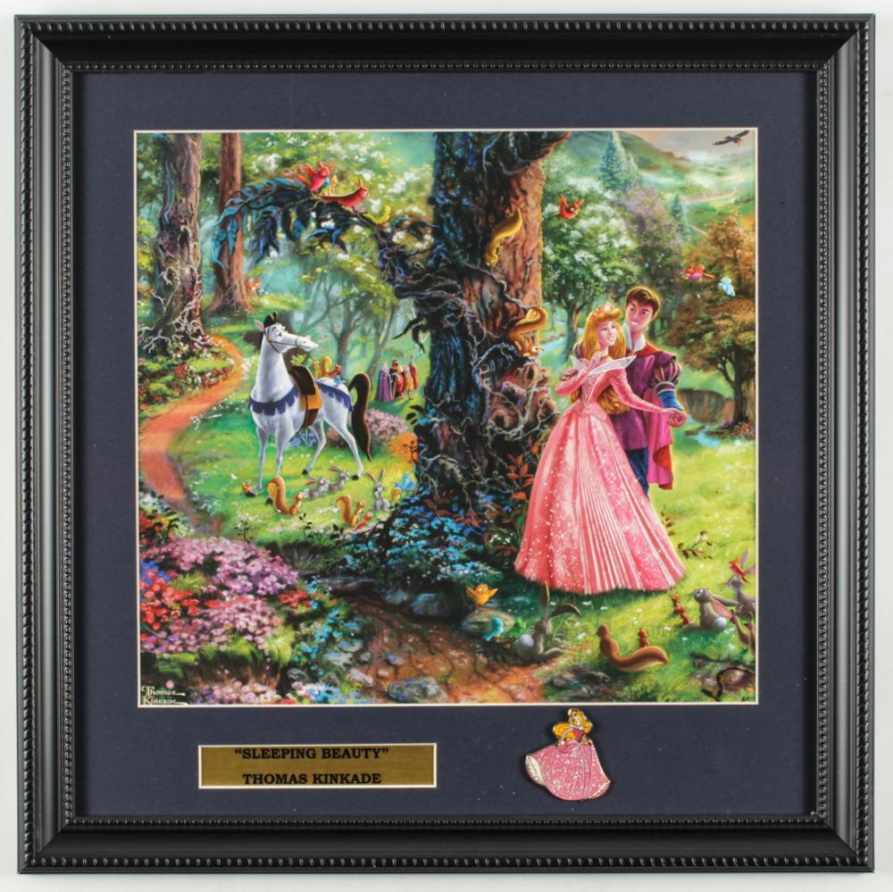 "Thomas Kinkade Walt Disney's ""Sleeping Beauty"" 16x16 Custom Framed Print Display with Sleeping Beauty Pin at PristineAuction.com"