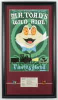 "Disneyland Fantasyland's ""Mr. Toad's Wild Ride"" 15x26 Custom Framed Print Display with Vintage Ticket & (2) DisneyPin at PristineAuction.com"