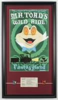 "Disneyland Fantasyland's ""Mr. Toad's Wild Ride"" 15x26 Custom Framed Print Display with Vintage Ticket & Set of (2) Mr. Toads Wild Ride Pins at PristineAuction.com"