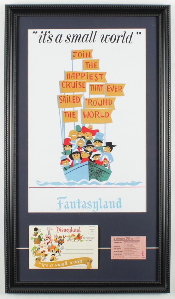 "Disneyland Fantasyland's ""It's A Small World"" 15x26 Custom Framed Print Display with Vintage Disneyland Photo Portfolio & Ride Ticket at PristineAuction.com"