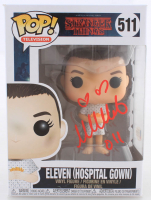"""Millie Bobby Brown Signed """"Stranger Things"""" #511 Eleven (Hospital Gown) Funko Pop! Vinyl Figure Inscribed """"011"""" (Beckett COA) (See Description) at PristineAuction.com"""