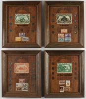Set of (4) Custom Framed Vintage Coin and Postage Stamp Displays (See Description) at PristineAuction.com