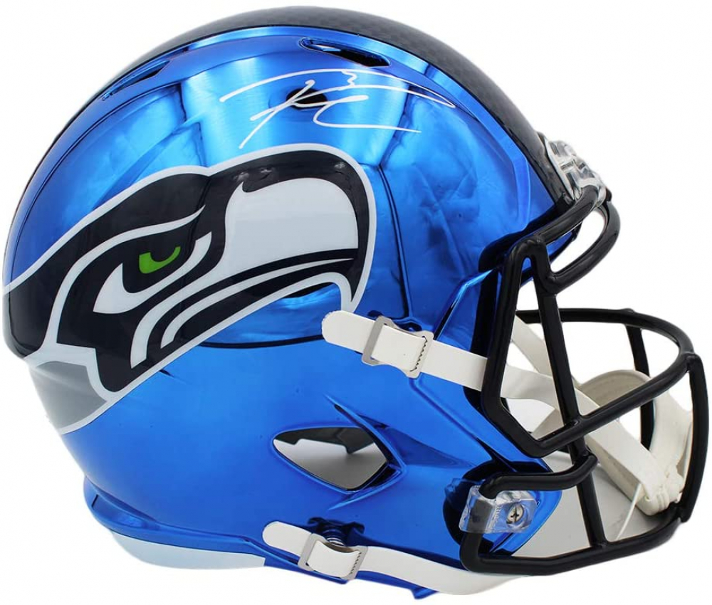 Russell Wilson Signed Seahawks Full-Size Chrome Speed Helmet (Wilson Hologram) at PristineAuction.com