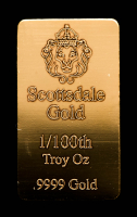 1/100 oz Scottsdale Mint Gold Bullion Bar at PristineAuction.com