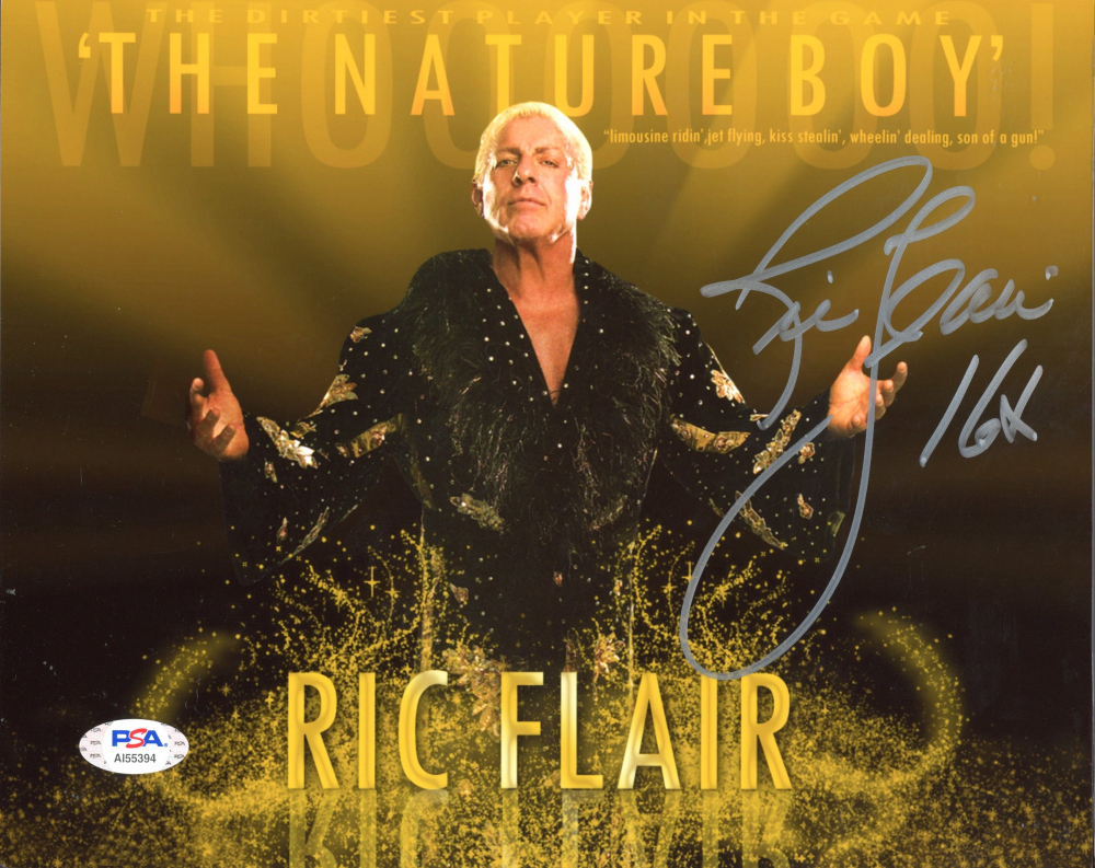 """Ric Flair Signed WWE 8x10 Photo Inscribed """"16x"""" (PSA Hologram) at PristineAuction.com"""