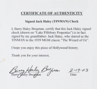 "Jack Haley Signed ""The Wizard Of Oz"" 16x20 Custom Matted Personal Bank Check Display (JSA COA) (See Description) at PristineAuction.com"