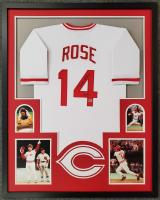 """Pete Rose Signed Custom Framed Jersey Inscribed """"4256"""" (Fiterman Hologram) at PristineAuction.com"""