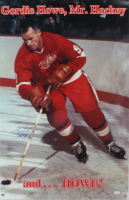 """Gordie Howe Signed Red Wings 22x33.5 Photo Inscribed """"Mr. Hockey"""" (PSA COA) at PristineAuction.com"""