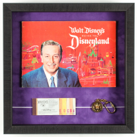 "Walt Disney's ""Disneyland"" 15.5x15.5x2 Custom Framed 1962 Original Souvenir Guide Display with Vintage Ticket Booklet & 1960's Lapel Pin at PristineAuction.com"