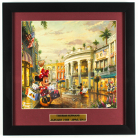 "Thomas Kinkade Walt Disney's ""Mickey & Minnie Mouse In Beverly Hills"" 16x16 Custom Framed Print Display at PristineAuction.com"