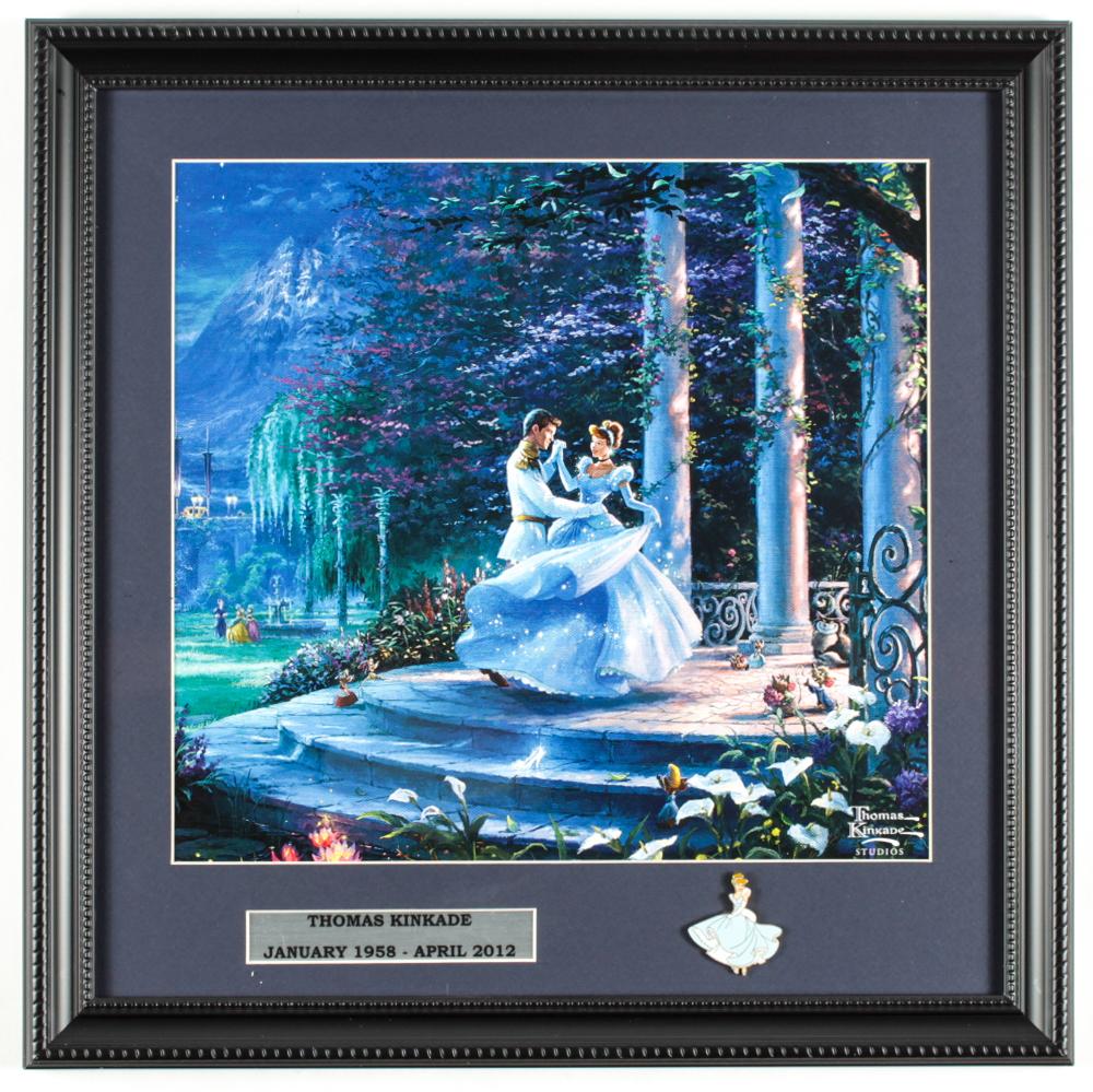 "Thomas Kinkade Walt Disney's ""Cinderella"" 16x16 Custom Framed Print Display with Cinderella Pin at PristineAuction.com"