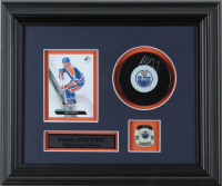 Paul Coffey Signed Oilers 10.5x12.5 Custom Framed Puck Display with 2013-14 SP Authentic #127 Card & Oilers Pin (COJO COA) (See Description) at PristineAuction.com