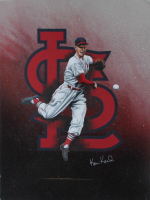 """Ken Karl Signed """"Stan Musial"""" 18x24 Custom Matted Painting Display (PA Hologram) (See Description) at PristineAuction.com"""