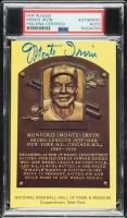 Monte Irvin Signed Gold Hall of Fame Plaque Postcard (PSA Encapsulated) at PristineAuction.com