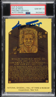 Willie Mays Signed Gold Hall of Fame Plaque Postcard (PSA Encapsulated) at PristineAuction.com