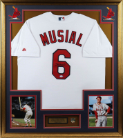 Stan Musial Signed Cardinals 32x36 Custom Framed Jersey Display with 2 Time NL MVP Pin (PSA COA) at PristineAuction.com