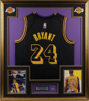 Kobe Bryant 32x36 Custom Framed Jersey Display with Career Statistics Metal Lapel Pin at PristineAuction.com