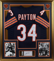 Walter Payton Signed 32x36 Custom Framed Cut Display with Vintage Bears Pin (PSA Encapsulated) at PristineAuction.com