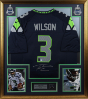 Russell Wilson Signed Seahawks 32x36 Custom Framed Jersey Display with Super Bowl XLVIII Pin (PSA COA & Wilson Hologram) at PristineAuction.com