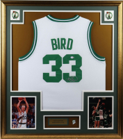 Larry Bird Signed 32x36 Custom Framed Jersey Display with Vintage Boston Celtics Pin (PSA COA) at PristineAuction.com