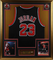 Michael Jordan 33x37 Custom Framed Jersey Display with (2) Vintage Champions Pins (See Description) at PristineAuction.com