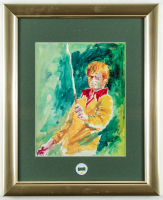 "LeRoy Neiman ""Jack Nicklaus"" 13x16 Custom Framed Print Display with Masters Tournament Ball Marker at PristineAuction.com"