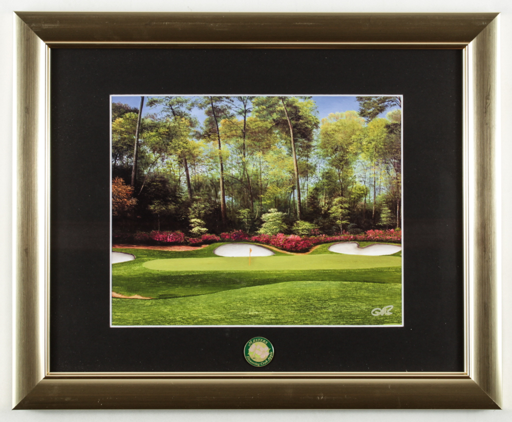 "Augusta National ""Golden Bell"" 13x16 Custom Framed Photo Display with Masters Tournament Ball Marker at PristineAuction.com"