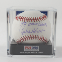 """Richie Hebner Signed OML Baseball Inscribed """"1971 World Champs"""" With Display Case (PSA COA) at PristineAuction.com"""