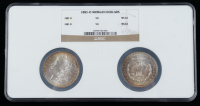 1883-O Morgan Silver Dollar Two Coin Holder (NGC MS64) (Toned) at PristineAuction.com