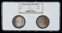 1885-O Morgan Silver Dollar Two Coin Holder (NGC MS64 & MS63) (Toned) (See Description) at PristineAuction.com