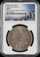 "1921-D Morgan Silver Dollar, VAM-1B1 Capped ""R"" Hot 50 - Legacy Collection (NGC AU55) at PristineAuction.com"