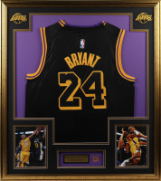 Kobe Bryant 33x37 Custom Framed Jersey With 2020 HOF Induction Pin at PristineAuction.com