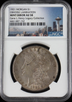Mint Error - 1921 Morgan Silver Dollar, Obverse Lamination Error - Legacy Collection (NGC AU58) at PristineAuction.com
