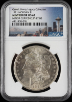 Mint Error - 1921 Morgan Silver Dollar, Curved Clip Error - Legacy Collection (NGC MS62) at PristineAuction.com
