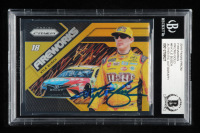 Kyle Busch Signed 2018 Panini Prizm Fireworks Gold Prizms #8 - #05/10 (Beckett Encapsulated) at PristineAuction.com