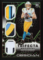 Justin Herbert 2020 Panini Obsidian Trifecta Materials Electric Etch Green #4 at PristineAuction.com