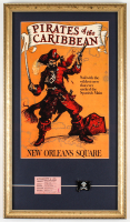 """Disneyland """"Pirates of the Caribbean"""" 15x26 Custom Framed Print with Lapel Pin & Vintage Disneyland E Ride Ticket at PristineAuction.com"""