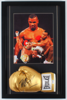 Mike Tyson Signed 17x26 Custom Framed Boxing Glove Display (PSA COA) at PristineAuction.com