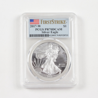2017-W American Silver Eagle $1 One Dollar Coin - First Strike (PCGS PR70 Deep Cameo) at PristineAuction.com