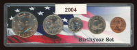 2004 Birthyear 2x6 Coin Set Display with (5) Coins at PristineAuction.com