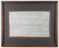 John Quincy Adams Signed 17.5.5x21.25 Custom Framed Land Grant Display (Beckett LOA) at PristineAuction.com