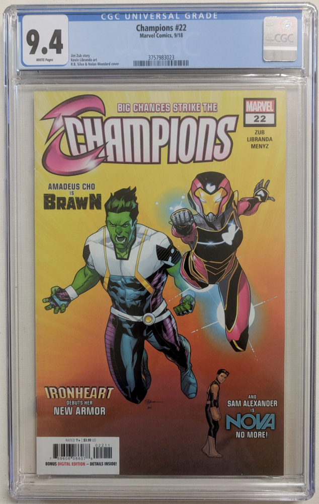 """2018 """"Champions"""" Issue #22 Marvel Comic Book (CGC 9.4) at PristineAuction.com"""