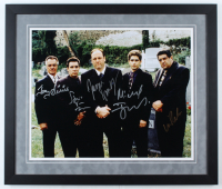 """The Sopranos"" 22x26 Custom Framed Photo Display Cast-Signed by (5) with James Gandolfini, Tony Sirico, Michael Imperioli, Vincent Pastore & Steven Van Zandt (Beckett LOA) at PristineAuction.com"